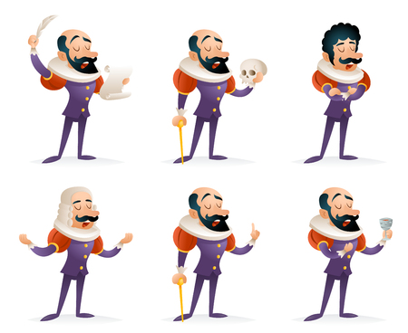 different thinking: Actor Theater Stage Man Characters Medieval Different Actions Icons Set Cartoon Design Template