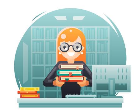 bibliothèque, connaissances, éducation, apprentissage, bibliothécaire, girl, tenue, livre, plat, conception, vecteur, illustration