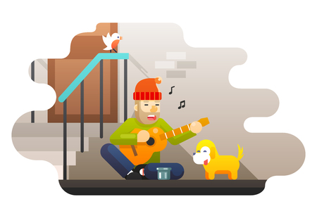 alms: Homeless poor man plays guitar about hard life hunger cold asks for help compassion music dog street wall door bird ladder background flat design vector illustration
