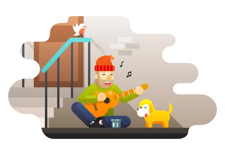 Obdachlose arme Mann spielt Gitarre über harte Leben Hunger kalt fragt nach Hilfe Mitleid Musik Hund Straße Wand Tür Vogel Leiter Hintergrund flache Design Vektor-Illustration Vektorgrafik