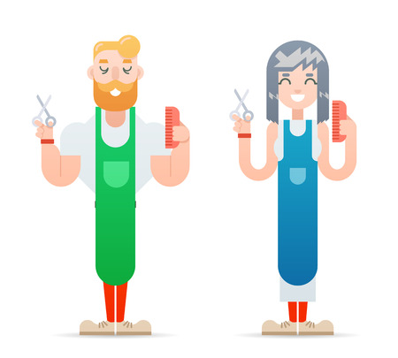 Barber hipster geek characters male and female master haircuts icon isolated flat design concept template vector illustration