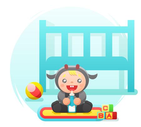 Child drinking milk cow cute costume nursery flat design vector illustration Illustration