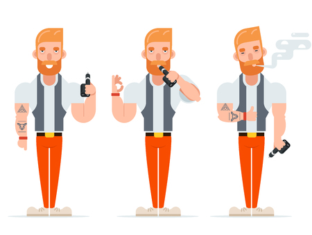substitute: Vape Smoking Geek Hipster Casual Character Icon Cartoon Poster Vector illustration