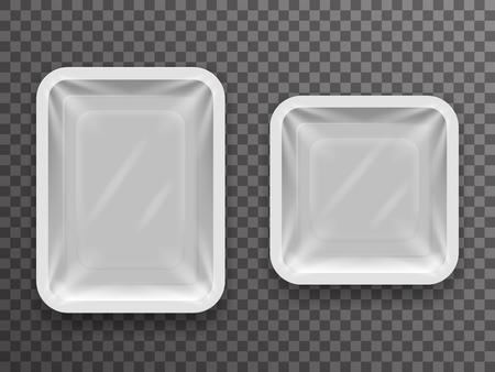 Paquete de comida disponible aislado 3d realista caja de paquete de tienda con sombra maqueta fondo transparente diseño de ilustración vectorial