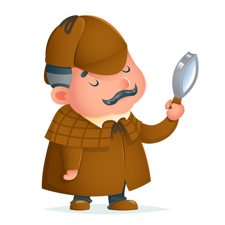 Victorian detective gentleman magnifying glass investigate search cute podgy mascot design cartoon vector illustration
