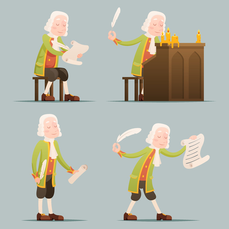 printmaking: hronicler noble writer scribe playwright medieval aristocrat periwig pen music stand scroll candles mascot set icons cartoon design vector illustration Illustration