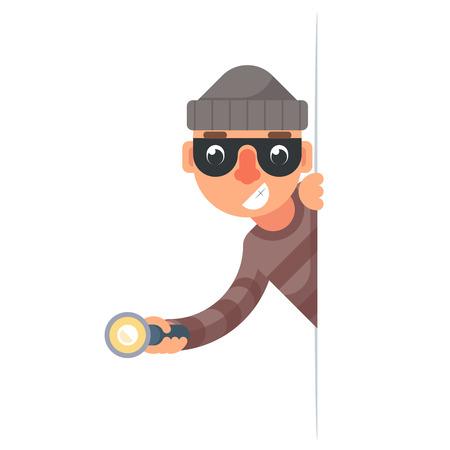 Thief with flashlight peeping out of corner cartoon design vector illustration