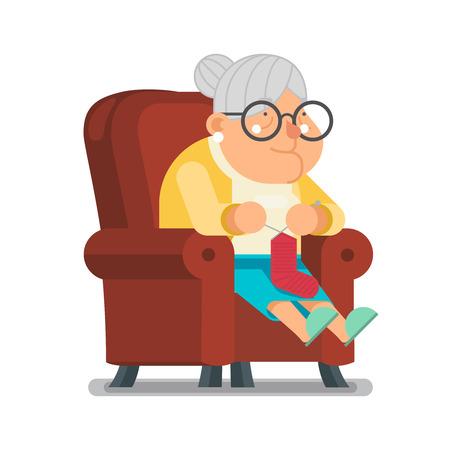 Großmutter Im Sessel Und Stricken Von Socken Sitzen. Vector Flach ...