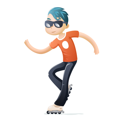 Rollerblading Roller Skate Cartoon Hipster Geek Healthy Lifestyle Character Icon Isolated Design Vector Illustration Illustration