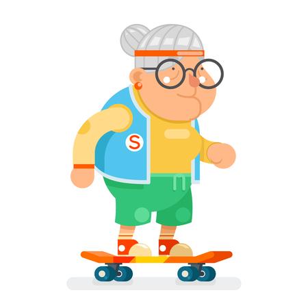 스포츠 건강한 할머니 액티브 라이프 스타일 나이 스케이트 노인 레이디 캐릭터 만화 평면 디자인 벡터 일러스트 레이션