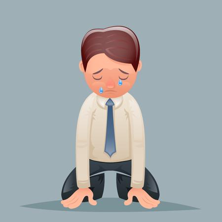Cry Tears Vintage Businessman, désespoir, souffrir, chagrin, personnage, icône, rétro, dessin animé, dessin, vecteur, Illustration