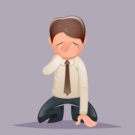 Facepalm Kneel Cry Vintage Businessman Despair Regret Suffer Grief Character Icon on Stylish Background Retro Cartoon Design Vector Illustration Illustration