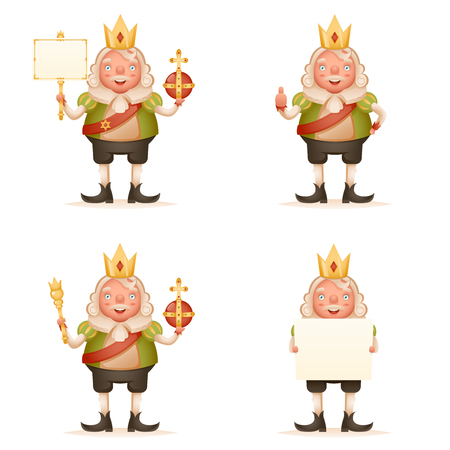King cute cheerful ruler blank paper thumb up crown head power and scepter in hands cartoon character 3d realistic isolated vector illustration