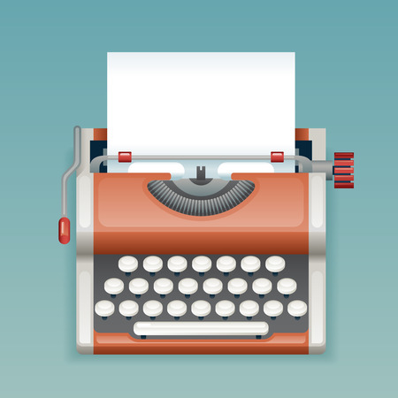 Retro Vintage Manual Typewriter Blank Paper Sheet Writer Mass Media Press Journalist Icon Realistic 3d Flat Design Template Vector Illustration