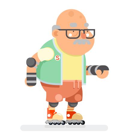 Roller Skate Adult Sports Abuelo saludable estilo de vida activo Edad viejo hombre personaje Cartoon Flat Design Vector illustration