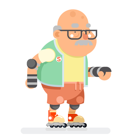 Roller Skate Adult Sports Healthy Grandfather Active Lifestyle Age Old Man Character Cartoon Flat Design Vector illustration Illustration