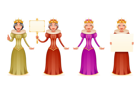 Queen cute cheerful ruler blank paper thumb up crown on head cartoon character 3d realistic isolated vector illustration