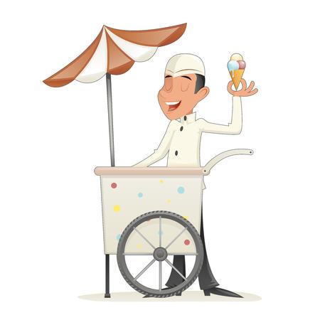 carretto gelati: Smiling Ice Cream Seller with Cart Retro Vintage Cartoon Character Icon Isolated Retro Cartoon Design Vector Illustration