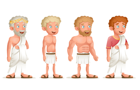 ancient civilization: Roman Greek Retro Vintage Old Young Toga Loincloth Characters Icon Set Cartoon Design Vector Illustration Illustration