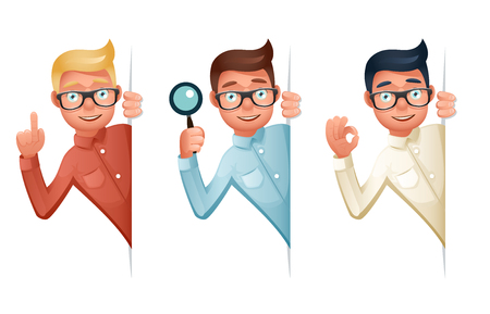 Search Help Looking Out Corner Cartoon Businessman Character Icon Magnifying Glass Symbol Retro Vintage Vector Illustration Illusztráció