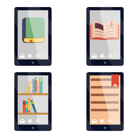 tehnology: E-book reader e-reader Flat icons and symbols Set Vector Illustration