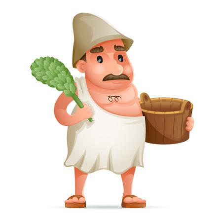 Steam Sauna Attendant Wash Towel Bathrobe Tub Swelter Character Icon Retro 3d Cartoon Design Vector Illustration