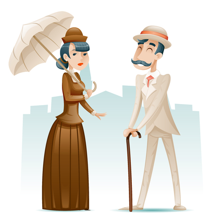 Victorian Lady and Gentleman Wealthy Cartoon Characters Icons on Stylish English City Background Retro Vintage Great Britain Design Vector Illustration
