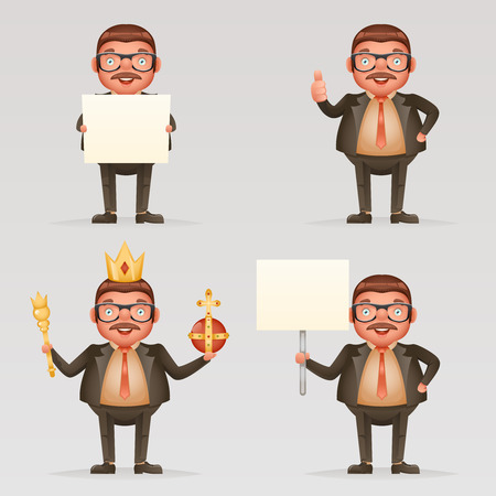 Cute successful businessman cheerful king crown on head power and scepter hands blank paper thumb up 3d cartoon character isolated vector illustration