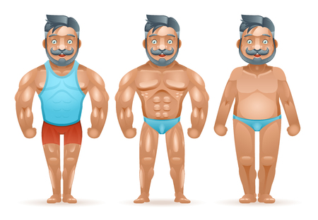 isolated man: Before after sports weight loss bodybuilder muscular fat man happy characters isolated 3d cartoon design vector illustration