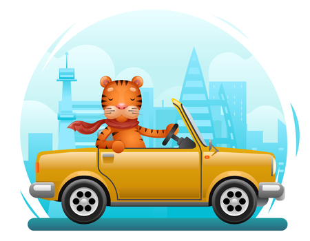 Cute tiger riding on car flat design cartoon character city background vector illustration
