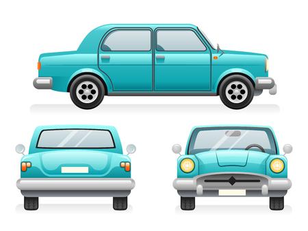 Front Back Side Point View Retro Car Icons Set Isolated Design Transport Clipart Symbols Vector Illustration Illustration