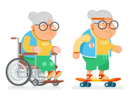 おばあちゃん車椅子スポーツ健康アクティブ ライフ スタイル年齢スケート老婦人文字漫画フラット デザインのベクトル図