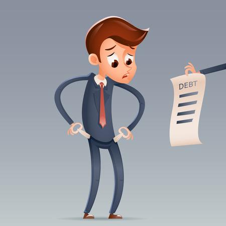 Personaggio dei cartoni animati delle tasche vuote dell'uomo d'affari triste di debito del denaro contante che guarda l'illustrazione di vettore di progettazione di concetto di Bill Icon Retro Cartoon Financial Design