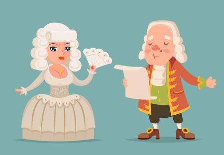 Noble medieval lady lord aristocrat countess princess queen king mascot cartoon design vector illustration Illustration