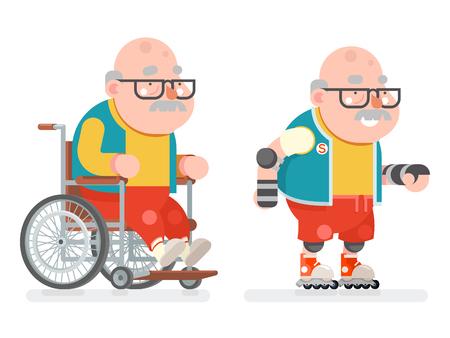 車椅子祖父アクティブ ライフ スタイル ローラー スケート アダルト スポーツ健康な老年男文字漫画フラット デザインのベクトル図