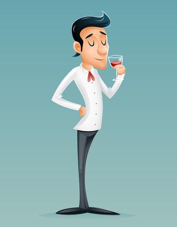 Sommelier Cartoon Gentleman Savor Drink Glass Relish Brew Wine Alcohol Icon Retro Vintage Design Cartoon Vector Illustration