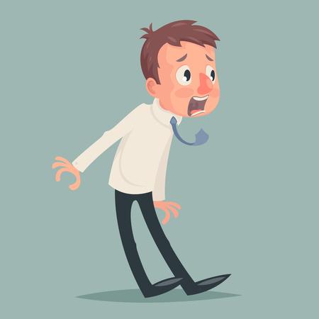Shok Emotion Fear Horror Depression Stress Businessman Character Icon Retro Vintage Cartoon Design Vector Illustration
