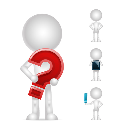 basic figure: 3d blank character question exclamation mark pc tablet isolated icons set render design vector illustration