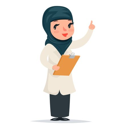 female girl: Female Girl Cute Arab Doctor with Clipboard in Hands Forefinger up Advice Preaching Admonition Character Isolated Icon Medic Retro Cartoon Design Vector Illustration Illustration