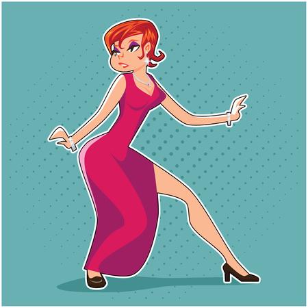 Popart Pin-up Femme Fatale Woman Spy Thief Action Pose Retro Vintage Cartoon Design Vector Illustration Illustration