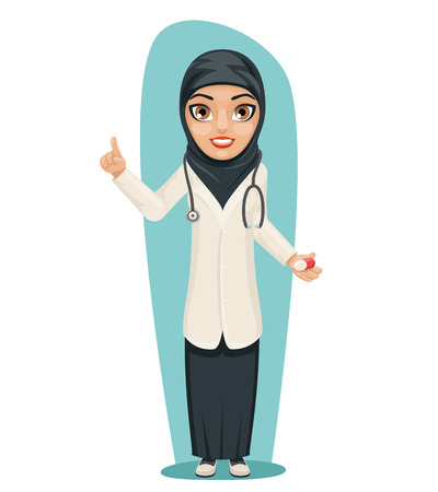 female girl: Cute Arab Doctor with Pill Medicine in Hand Forefinger up Advice Preaching Admonition Female Girl Character Isolated Icon Medic Retro Cartoon Design Vector Illustration