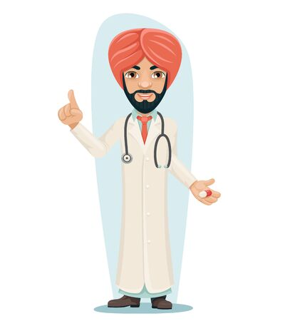 Quality Treatment Turban Arab Male Serious Experienced Doctor with Pill Medicine Hand Forefinger up Advice Preaching Admonition Manl Character Isolated Icon Medic Retro Cartoon Design Vector Illustration. Illustration
