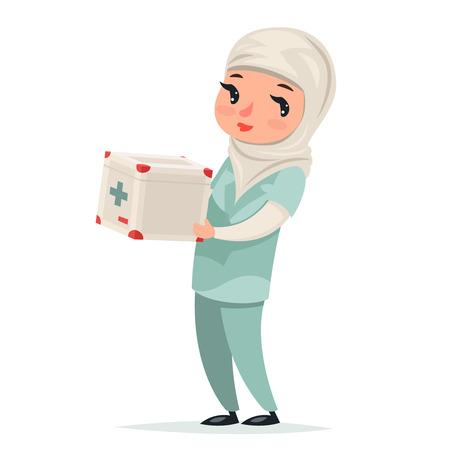 Transplant Surgeon Nurse Female Girl Cute Arab Doctor with First-aid kit Medicine Box Refrigerator Transplantation Internal Organs Hands Character Isolated Icon Medic Retro Cartoon Design Vector Illustration.