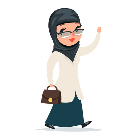 female girl: Walk Home Treatment Female Girl Cute Arab Doctor with Case Greets Hand Character Isolated Icon Medic Retro Cartoon Design Vector Illustration Illustration