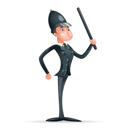 contentment: Order Law Policeman 3d Security Protection Cartoon Mascot Character Menu Design Vector Illustrator