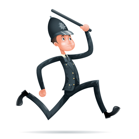 Policeman Run Security Protection Order Law Cartoon Mascot 3d Character Menu Design Vector Illustrator Illustration