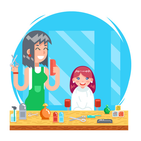 Children teenager hairdresser character cute little girl and female master haircuts icon flat design concept template vector Illustration