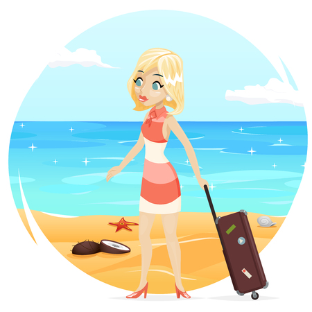 Sea Beach Background Cute Girl Suitcase Cartoon Retro Vintage Female Character Summer Vacation Tourism Journey Travel Symbol icon Vector Illustration