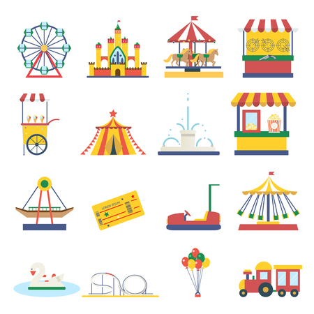 Amusement park flat elements isolated background infographic design concept vector illustration Illustration