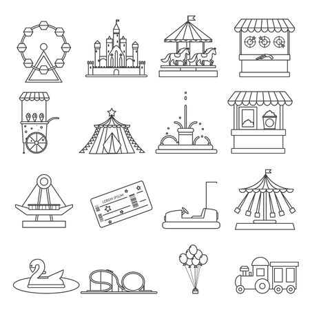 roller: Amusement park lineart elements isolated background design concept vector illustration